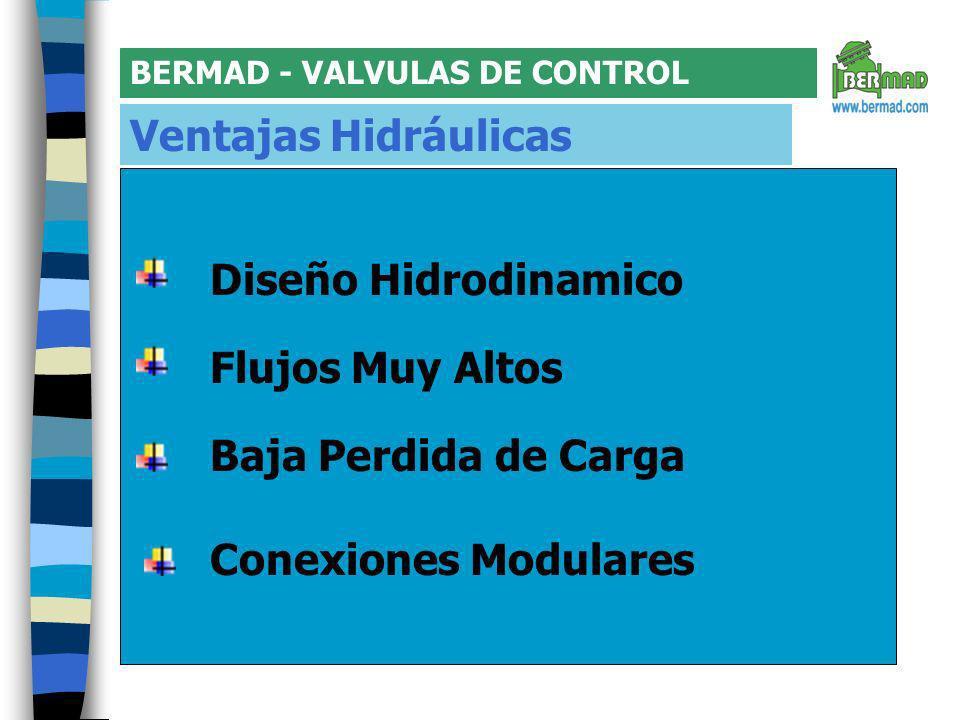BERMAD - VALVULAS DE CONTROL Ventajas Hidráulicas Conexiones Modulares Flujos Muy Altos Diseño Hidrodinamico Baja Perdida de Carga