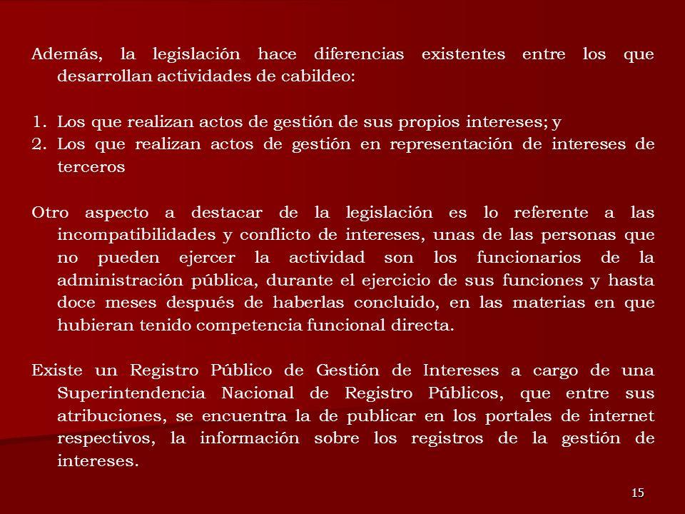 15 Además, la legislación hace diferencias existentes entre los que desarrollan actividades de cabildeo: 1.Los que realizan actos de gestión de sus pr