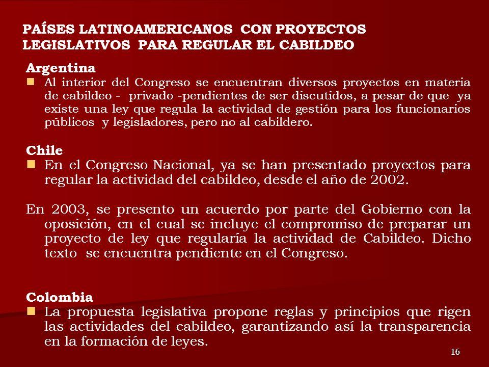 16 Argentina Al interior del Congreso se encuentran diversos proyectos en materia de cabildeo - privado -pendientes de ser discutidos, a pesar de que