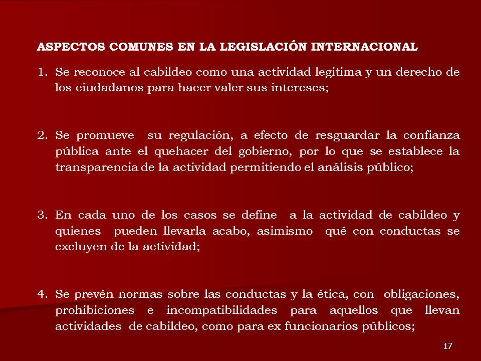 17 1.Se reconoce al cabildeo como una actividad legitima y un derecho de los ciudadanos para hacer valer sus intereses; 2.Se promueve su regulación, a
