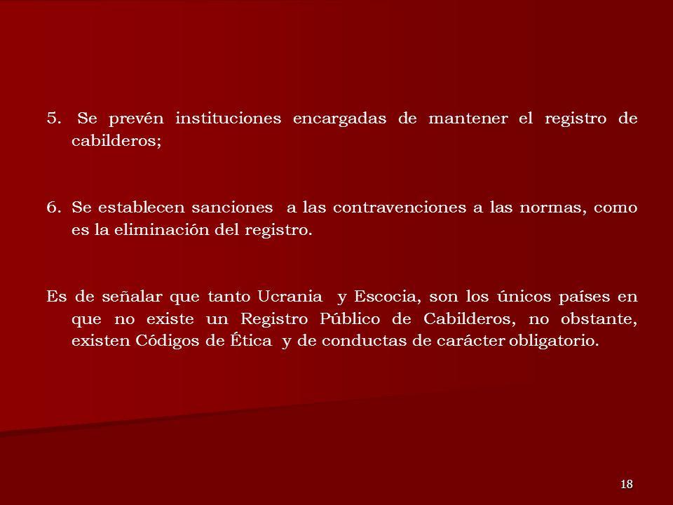 18 5. Se prevén instituciones encargadas de mantener el registro de cabilderos; 6.Se establecen sanciones a las contravenciones a las normas, como es