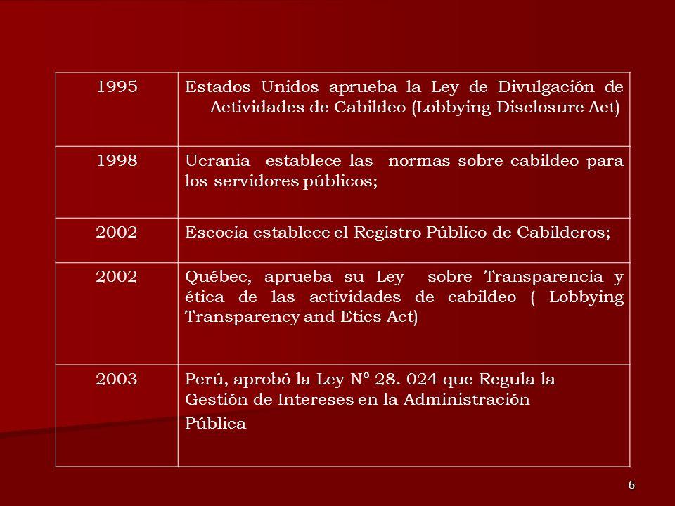 6 1995Estados Unidos aprueba la Ley de Divulgación de Actividades de Cabildeo (Lobbying Disclosure Act) 1998Ucrania establece las normas sobre cabilde
