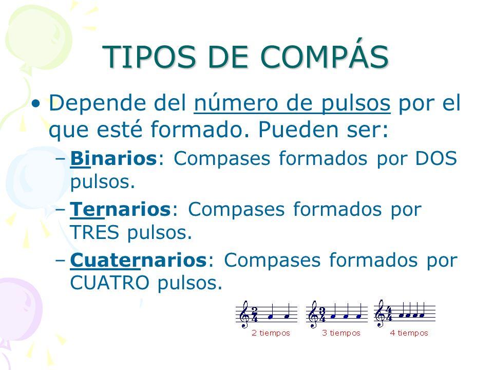 TIPOS DE COMPÁS Depende del número de pulsos por el que esté formado. Pueden ser: –Binarios: Compases formados por DOS pulsos. –Ternarios: Compases fo