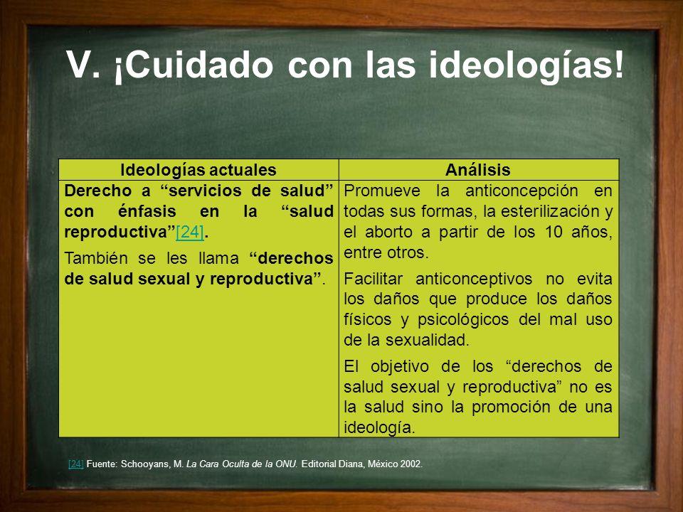 V. ¡Cuidado con las ideologías! Ideologías actualesAnálisis Derecho a servicios de salud con énfasis en la salud reproductiva[24].[24] También se les