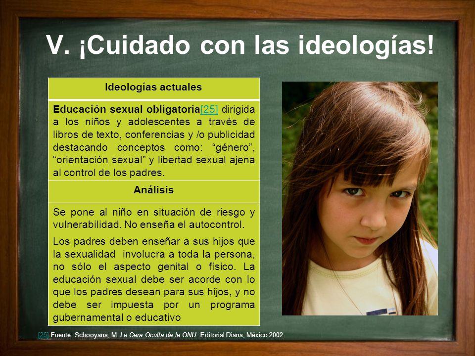 V. ¡Cuidado con las ideologías! Ideologías actuales Educación sexual obligatoria[25] dirigida a los niños y adolescentes a través de libros de texto,