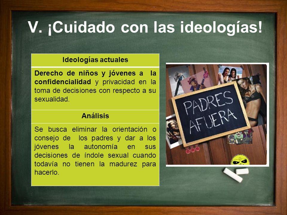 V. ¡Cuidado con las ideologías! Ideologías actuales Derecho de niños y jóvenes a la confidencialidad y privacidad en la toma de decisiones con respect