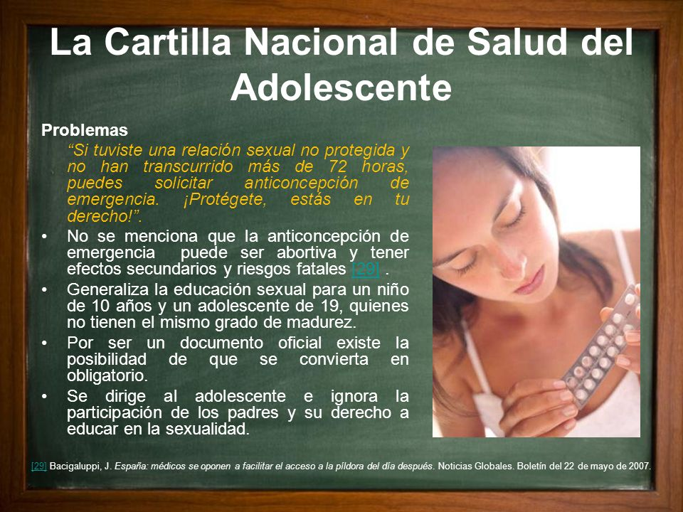 La Cartilla Nacional de Salud del Adolescente Problemas Si tuviste una relación sexual no protegida y no han transcurrido más de 72 horas, puedes soli