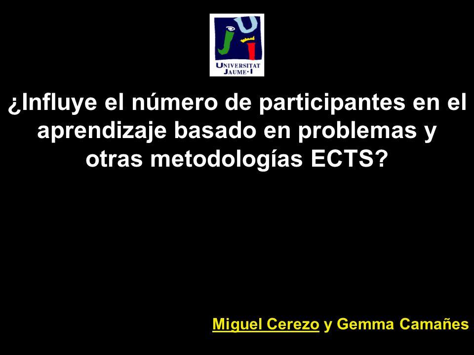 ¿Influye el número de participantes en el aprendizaje basado en problemas y otras metodologías ECTS.