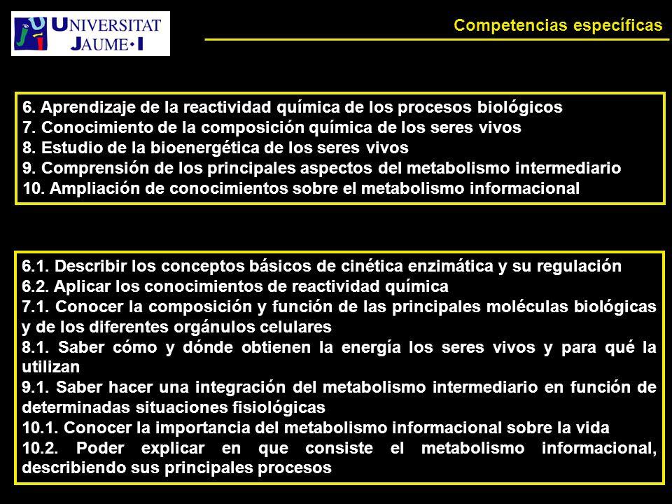Competencias específicas 6.Aprendizaje de la reactividad química de los procesos biológicos 7.