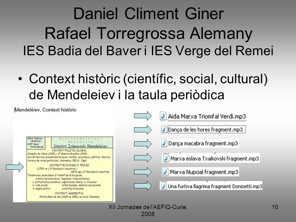 XII Jornades de l'AEFiQ-Curie, 2008 10 Daniel Climent Giner Rafael Torregrossa Alemany IES Badia del Baver i IES Verge del Remei Context històric (cie