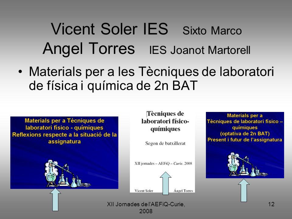 XII Jornades de l'AEFiQ-Curie, 2008 12 Vicent Soler IES Sixto Marco Angel Torres IES Joanot Martorell Materials per a les Tècniques de laboratori de f