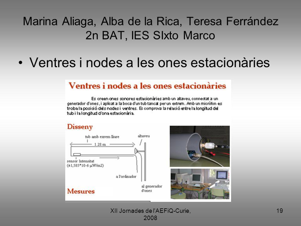 XII Jornades de l'AEFiQ-Curie, 2008 19 Marina Aliaga, Alba de la Rica, Teresa Ferrández 2n BAT, IES SIxto Marco Ventres i nodes a les ones estacionàri