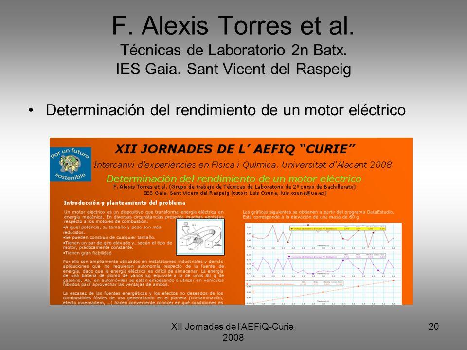 XII Jornades de l'AEFiQ-Curie, 2008 20 F. Alexis Torres et al. Técnicas de Laboratorio 2n Batx. IES Gaia. Sant Vicent del Raspeig Determinación del re