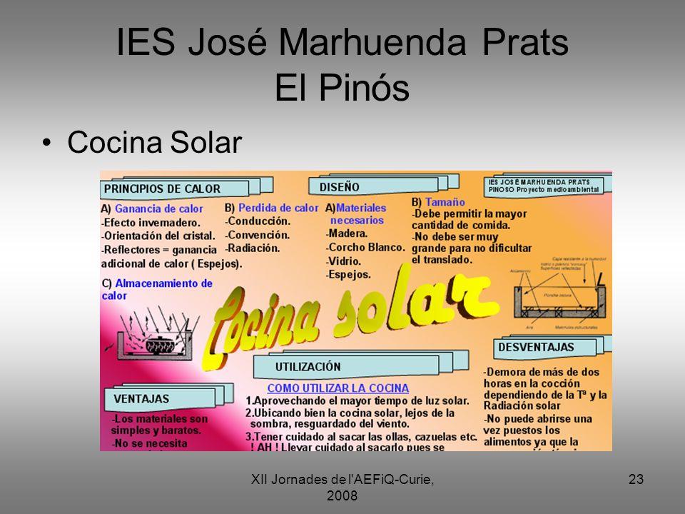 XII Jornades de l'AEFiQ-Curie, 2008 23 IES José Marhuenda Prats El Pinós Cocina Solar
