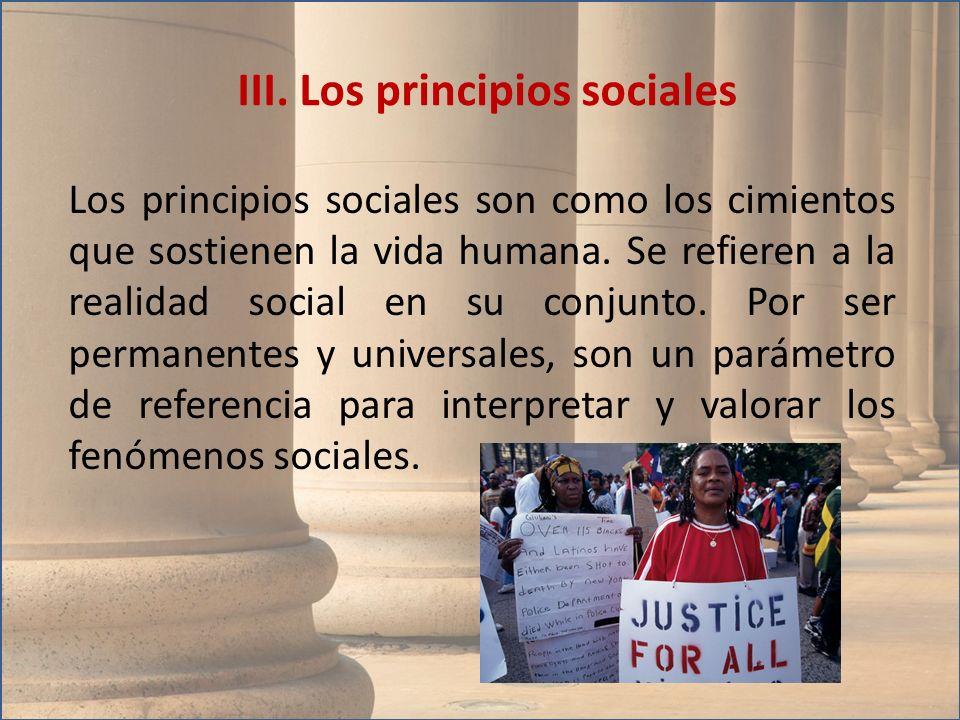 Los principios sociales son como los cimientos que sostienen la vida humana. Se refieren a la realidad social en su conjunto. Por ser permanentes y un