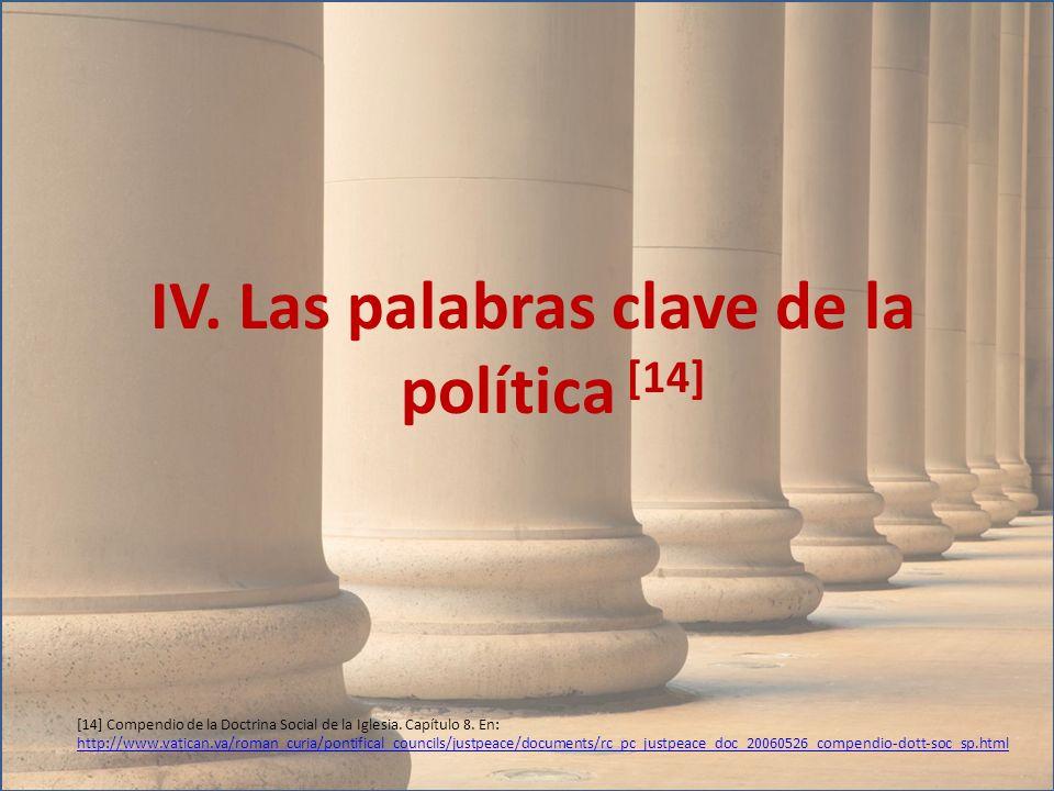 IV. Las palabras clave de la política [14] [14] Compendio de la Doctrina Social de la Iglesia. Capítulo 8. En: http://www.vatican.va/roman_curia/ponti