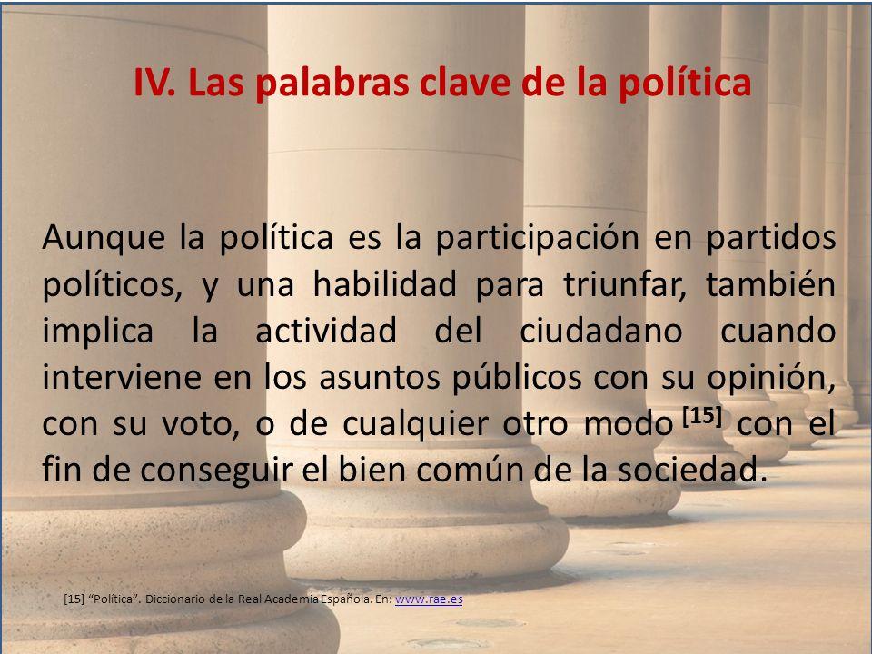 Aunque la política es la participación en partidos políticos, y una habilidad para triunfar, también implica la actividad del ciudadano cuando intervi