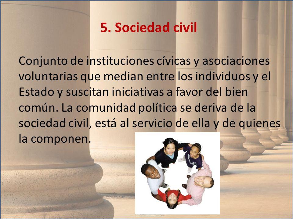 Conjunto de instituciones cívicas y asociaciones voluntarias que median entre los individuos y el Estado y suscitan iniciativas a favor del bien común