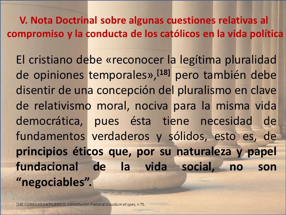 El cristiano debe «reconocer la legítima pluralidad de opiniones temporales», [18] pero también debe disentir de una concepción del pluralismo en clav