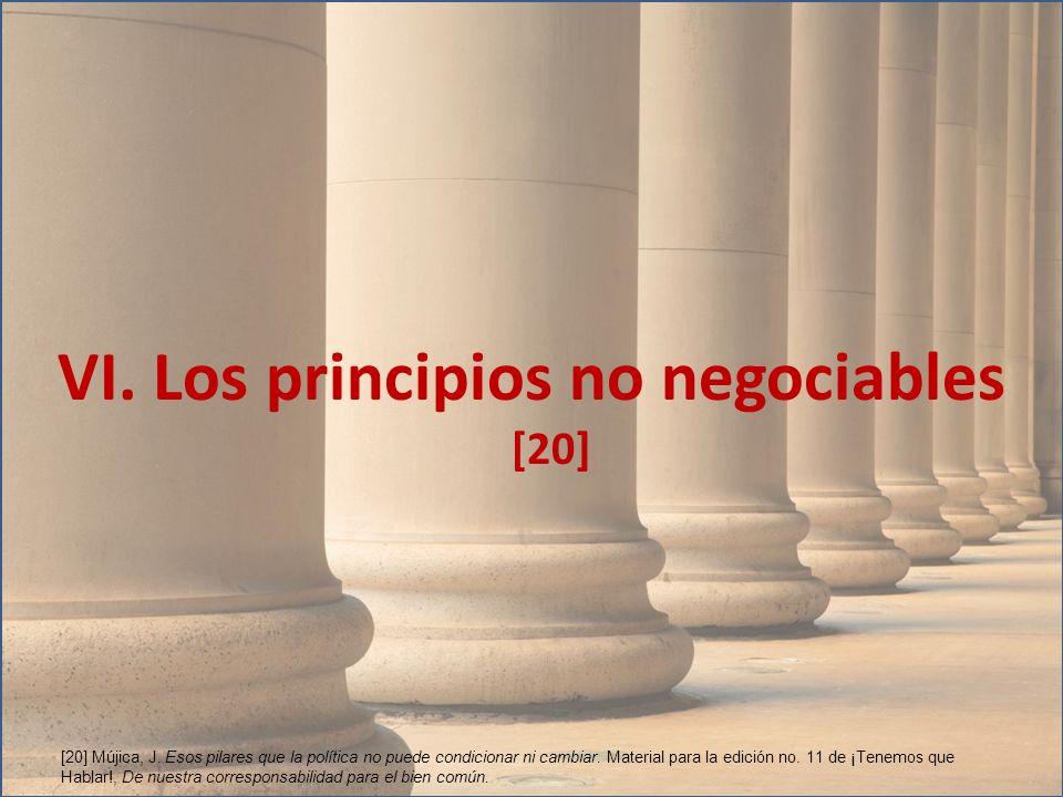 VI. Los principios no negociables [20] [20] Mújica, J. Esos pilares que la política no puede condicionar ni cambiar. Material para la edición no. 11 d