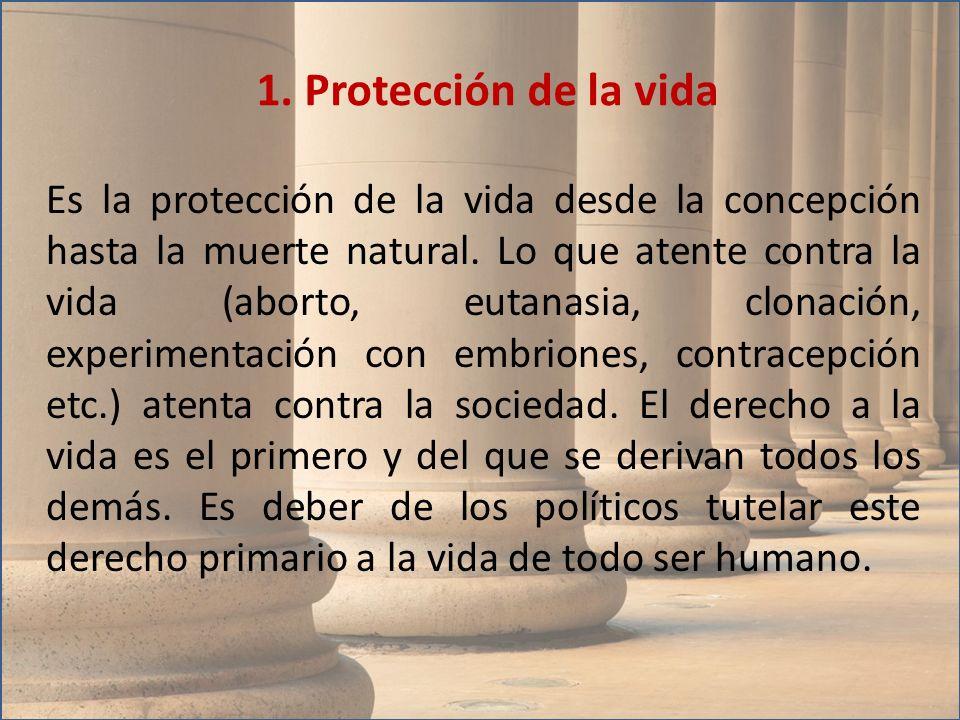 Es la protección de la vida desde la concepción hasta la muerte natural. Lo que atente contra la vida (aborto, eutanasia, clonación, experimentación c
