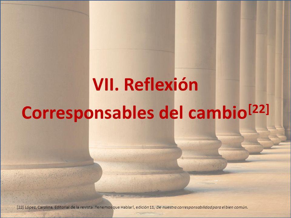 VII. Reflexión Corresponsables del cambio [22] [22] López, Carolina. Editorial de la revista ¡Tenemos que Hablar!, edición 11, De nuestra corresponsab