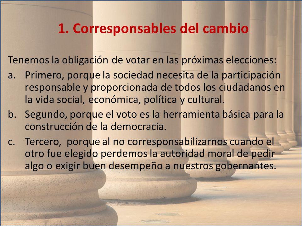 Tenemos la obligación de votar en las próximas elecciones: a.Primero, porque la sociedad necesita de la participación responsable y proporcionada de t