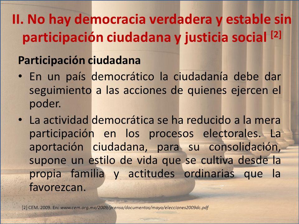 Participación ciudadana En un país democrático la ciudadanía debe dar seguimiento a las acciones de quienes ejercen el poder. La actividad democrática