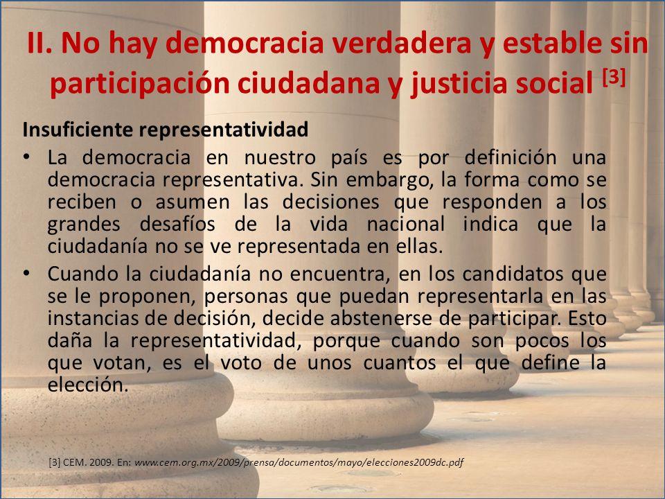 Insuficiente representatividad La democracia en nuestro país es por definición una democracia representativa. Sin embargo, la forma como se reciben o