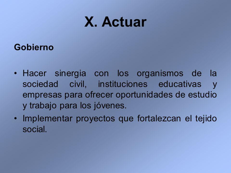 X. Actuar Gobierno Hacer sinergia con los organismos de la sociedad civil, instituciones educativas y empresas para ofrecer oportunidades de estudio y