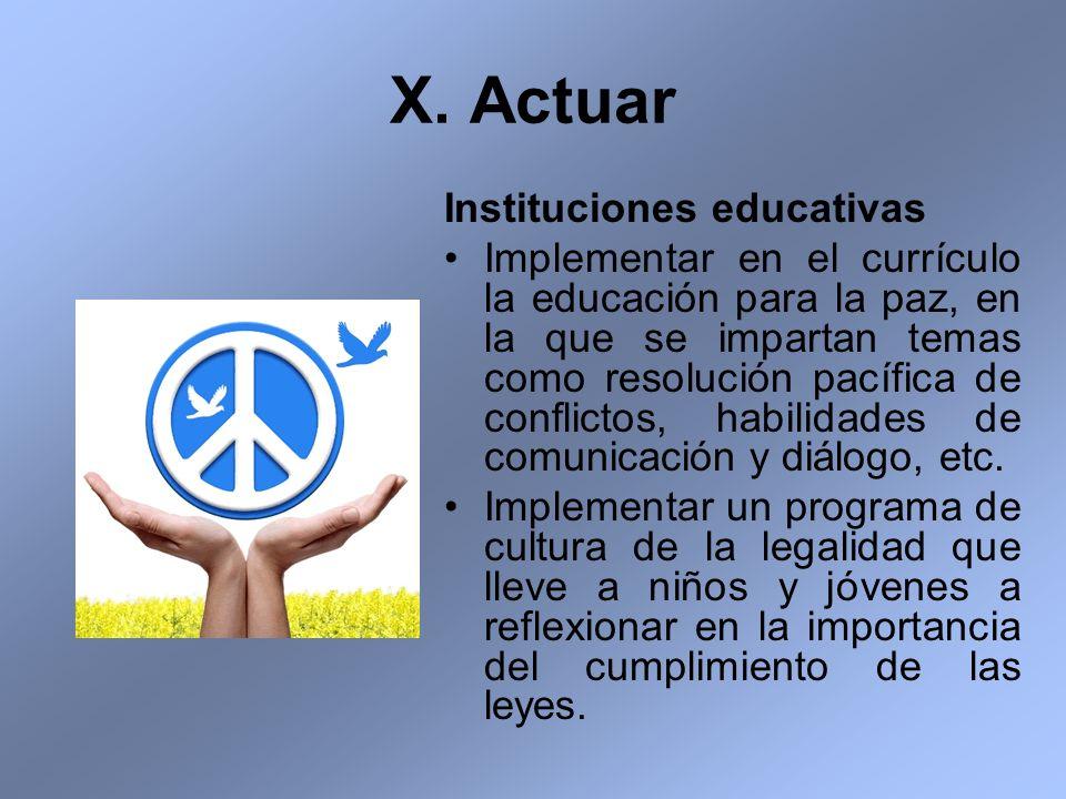 X. Actuar Instituciones educativas Implementar en el currículo la educación para la paz, en la que se impartan temas como resolución pacífica de confl