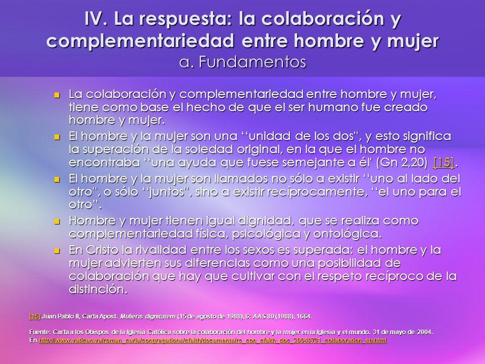 IV. La respuesta: la colaboración y complementariedad entre hombre y mujer a. Fundamentos La colaboración y complementariedad entre hombre y mujer, ti