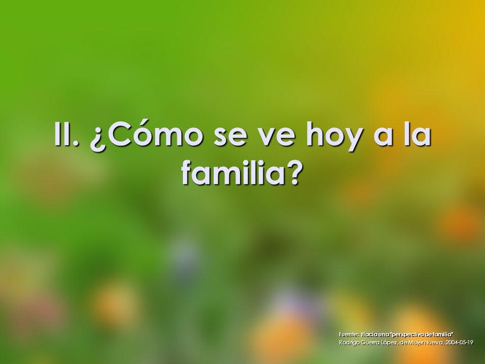 II. ¿Cómo se ve hoy a la familia? Fuente: Hacia una