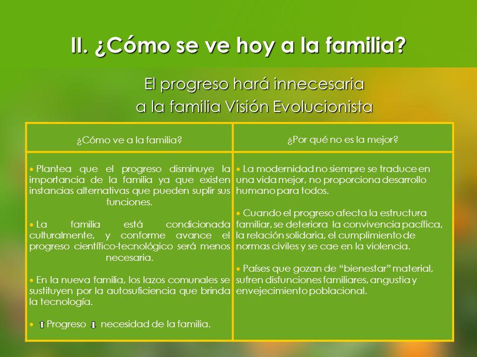 ¿Cómo ve a la familia?¿Por qué no es la mejor? Plantea que el progreso disminuye la importancia de la familia ya que existen instancias alternativas q