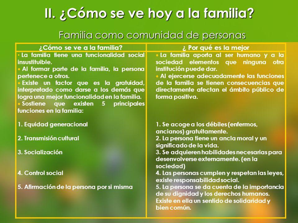 ¿Cómo se ve a la familia?¿ Por qué es la mejor La familia tiene una funcionalidad social insustituible. Al formar parte de la familia, la persona pert
