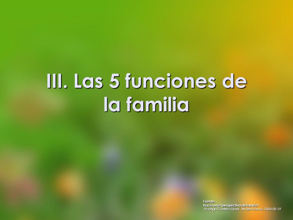 III. Las 5 funciones de la familia Fuente: Hacia una