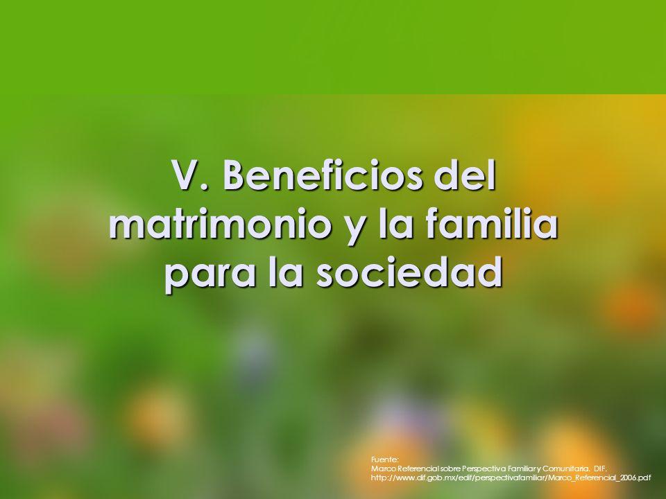 V. Beneficios del matrimonio y la familia para la sociedad Fuente: Marco Referencial sobre Perspectiva Familiar y Comunitaria. DIF. http://www.dif.gob