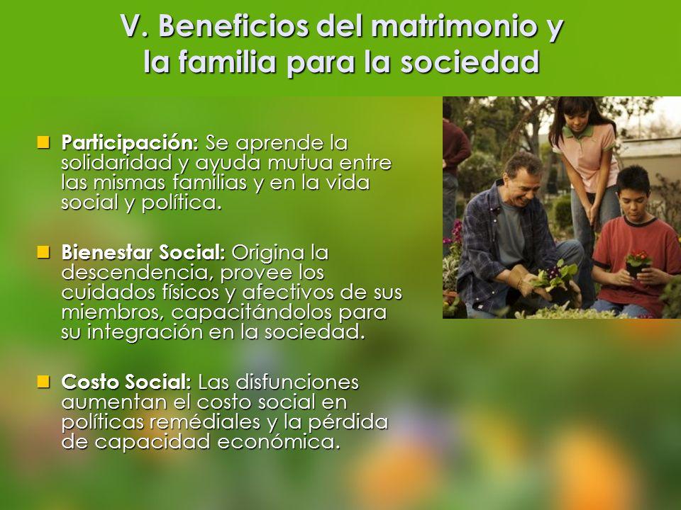 V. Beneficios del matrimonio y la familia para la sociedad Participación: Se aprende la solidaridad y ayuda mutua entre las mismas familias y en la vi