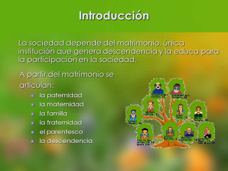 Introducción La sociedad depende del matrimonio, única institución que genera descendencia y la educa para la participación en la sociedad. A partir d