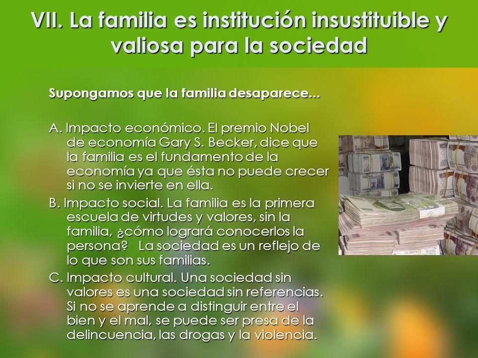 VII. La familia es institución insustituible y valiosa para la sociedad Supongamos que la familia desaparece... A. Impacto económico. El premio Nobel