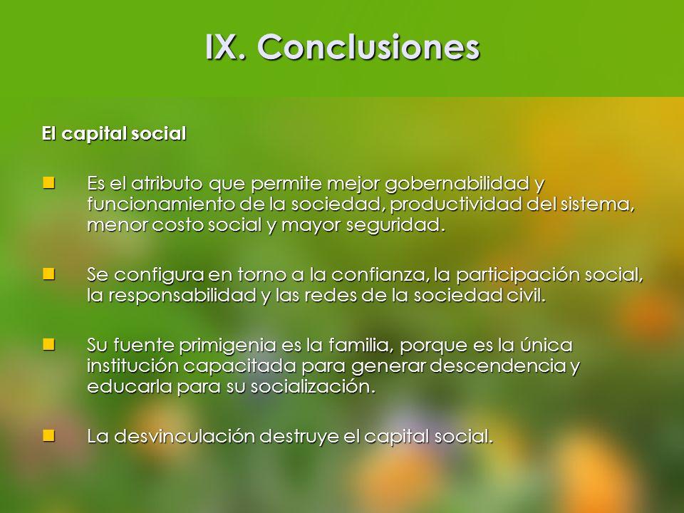 IX. Conclusiones El capital social Es el atributo que permite mejor gobernabilidad y funcionamiento de la sociedad, productividad del sistema, menor c