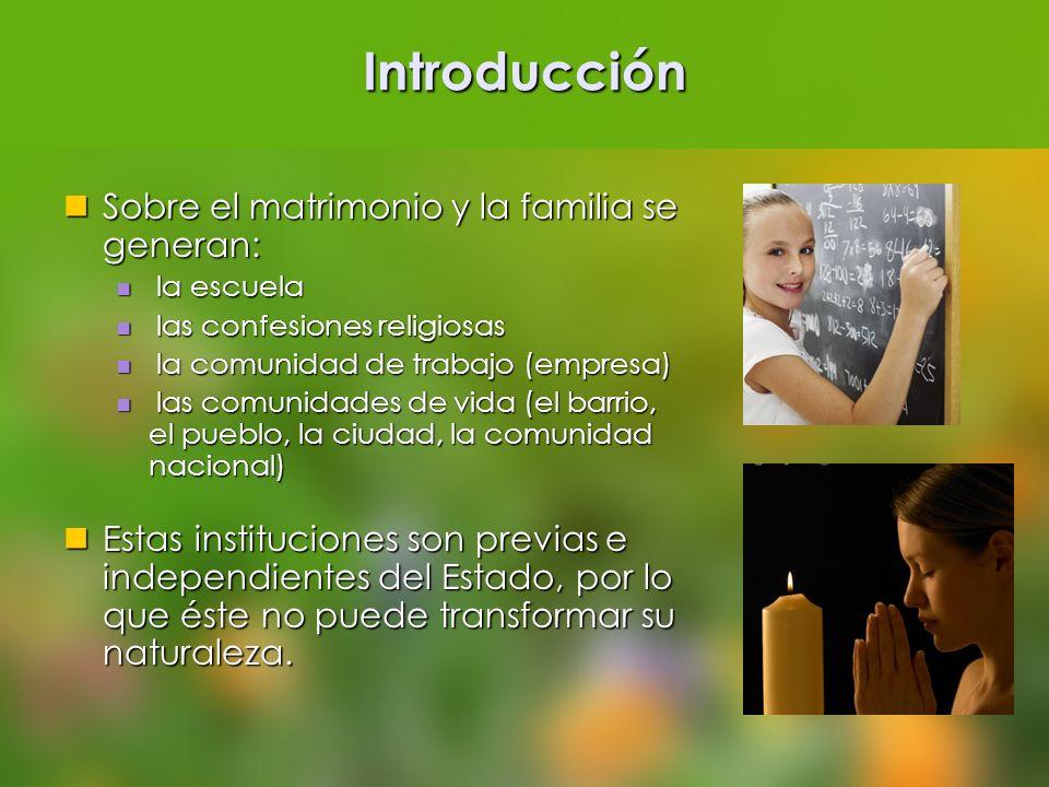 Introducción Sobre el matrimonio y la familia se generan: Sobre el matrimonio y la familia se generan: la escuela la escuela las confesiones religiosa