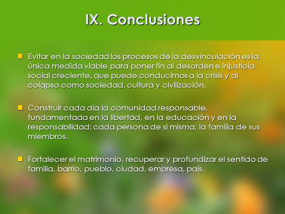 IX. Conclusiones Evitar en la sociedad los procesos de la desvinculación es la única medida viable para poner fin al desorden e injusticia social crec