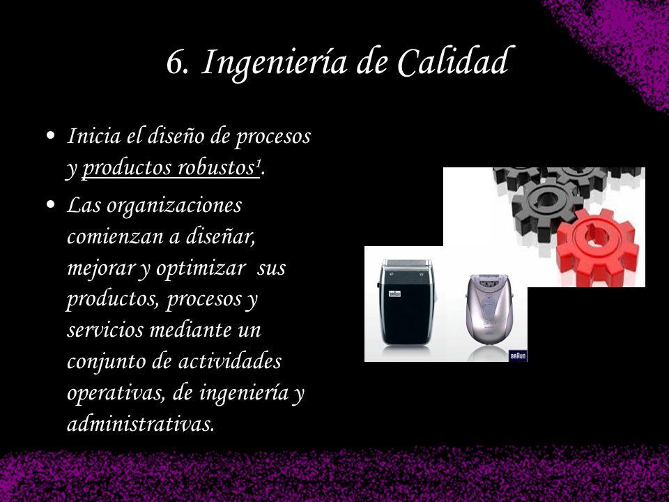 6. Ingeniería de Calidad Inicia el diseño de procesos y productos robustos¹. Las organizaciones comienzan a diseñar, mejorar y optimizar sus productos