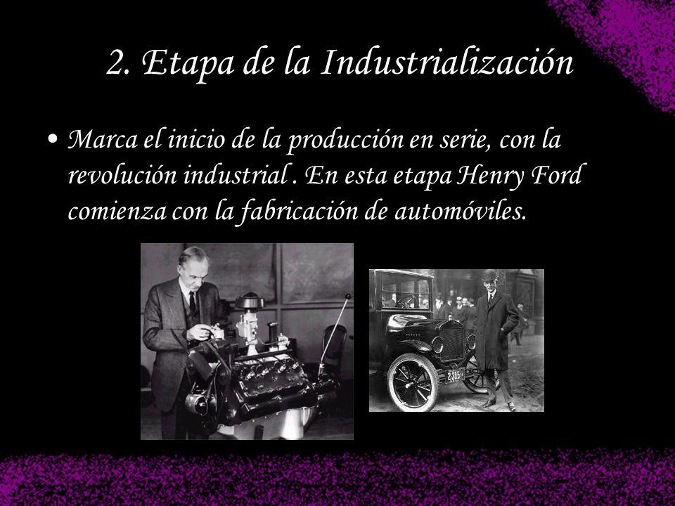 2. Etapa de la Industrialización Marca el inicio de la producción en serie, con la revolución industrial. En esta etapa Henry Ford comienza con la fab