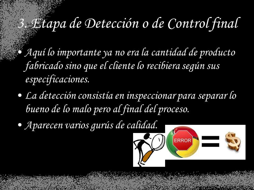3. Etapa de Detección o de Control final Aquí lo importante ya no era la cantidad de producto fabricado sino que el cliente lo recibiera según sus esp