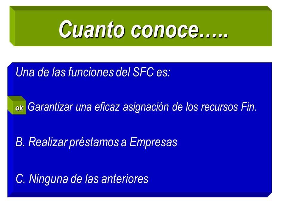 Cuanto conoce….. Una de las funciones del SFC es: A. Garantizar una eficaz asignación de los recursos Fin. B. Realizar préstamos a Empresas C. Ninguna