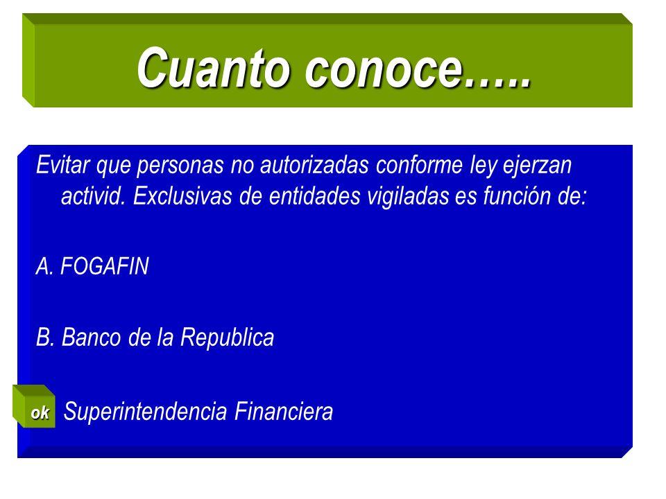 Cuanto conoce….. Evitar que personas no autorizadas conforme ley ejerzan activid. Exclusivas de entidades vigiladas es función de: A. FOGAFIN B. Banco