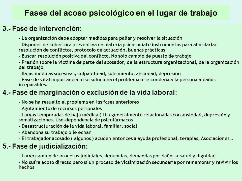 Fases del acoso psicológico en el lugar de trabajo 3.- Fase de intervención: - La organización debe adoptar medidas para paliar y resolver la situació
