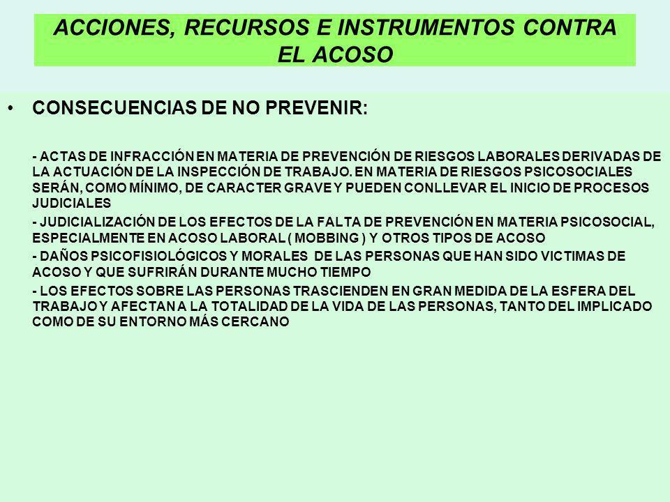 ACCIONES, RECURSOS E INSTRUMENTOS CONTRA EL ACOSO CONSECUENCIAS DE NO PREVENIR: - ACTAS DE INFRACCIÓN EN MATERIA DE PREVENCIÓN DE RIESGOS LABORALES DE